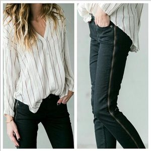 Free People 26 Levon Black Side Zipper Skinny Jean